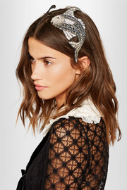 Antiqued silver-plated crystal headband