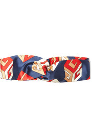 Twisted printed silk-satin headband
