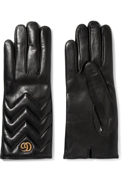 GUCCI Gg Marmont Chevron Leather Gloves, Black