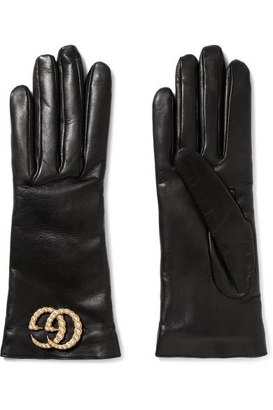 Gucci - Embellished Leather Gloves - Black