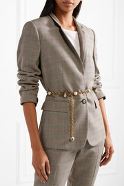 Faux pearl-embellished gold-tone belt