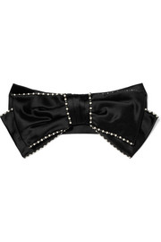 Gucci Faux pearl, crystal and bow-embellished silk-satin headband