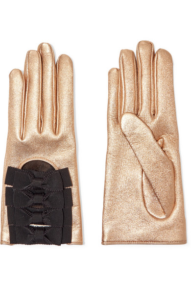 27fc16cf8fb Gucci. Bow-embellished metallic textured-leather gloves