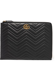 Quilted leather laptop case