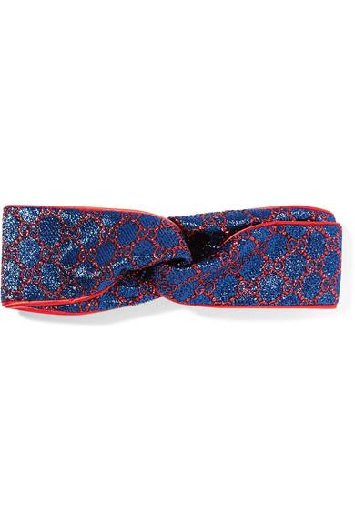 Gucci Twisted Metallic Jacquard Headband - Blue sXBQj