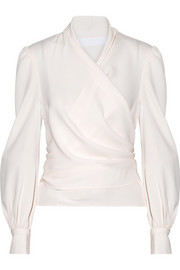 Crepe wrap blouse
