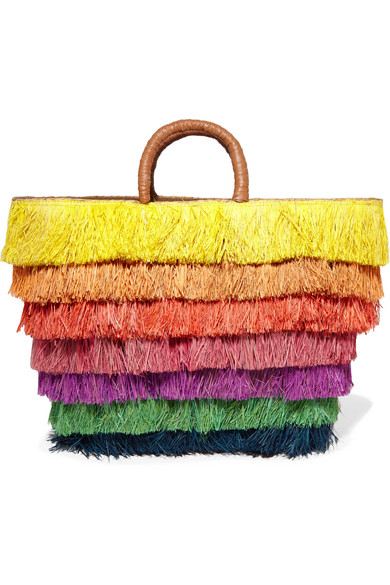 Kayu - Pinata Leather-trimmed Fringed Straw Tote - Yellow