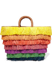 Kayu Pinata leather-trimmed fringed straw tote