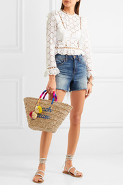 Kayu St Tropez embroidered woven straw tote