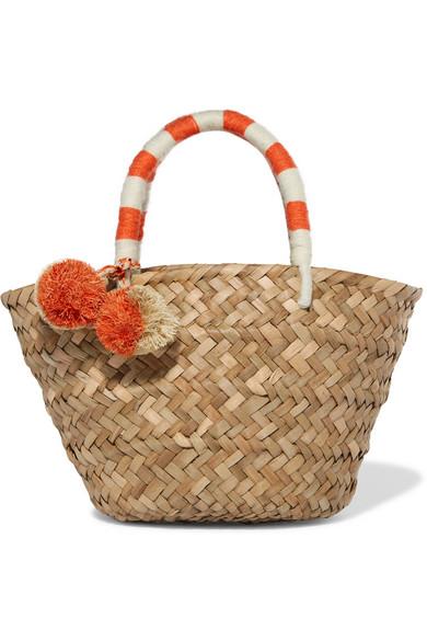 Kayu - St Tropez Mini Pompom-embellished Woven Straw Tote - Beige