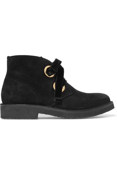Lester Velvet-Trimmed Suede Ankle Boots, Black