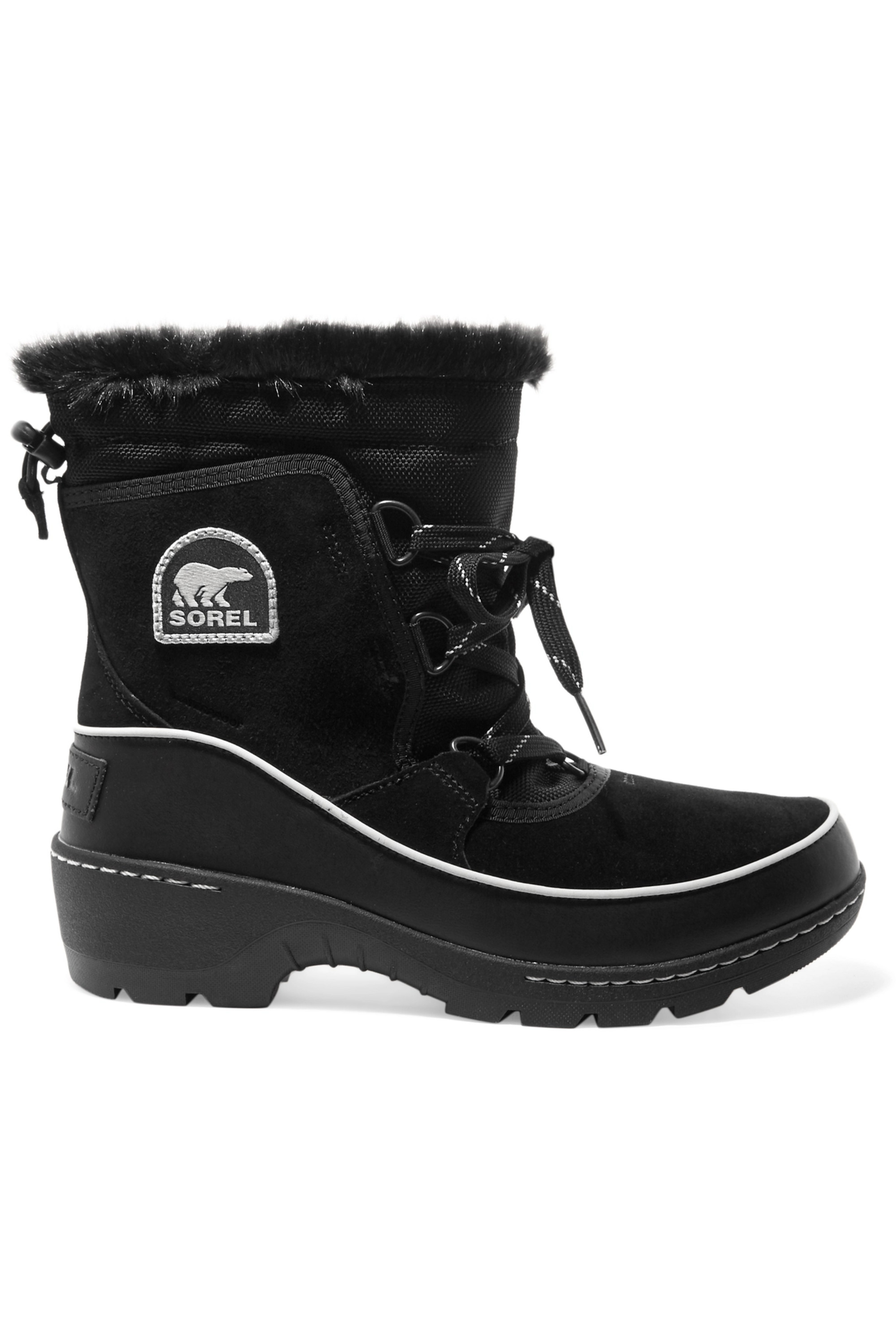 SOREL Torino faux fur-trimmed waterproof suede, shell and leather ankle boots