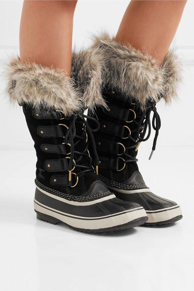 Sorel | Joan of Arctic wasserdichte Stiefel aus Veloursleder und Faux Gummi mit Besätzen aus Faux und Fur ff797d
