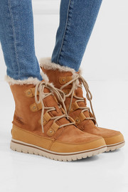 Cozy Joan faux fur-lined suede and nubuck ankle boots