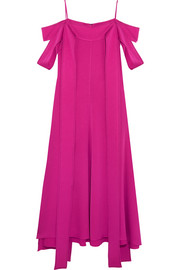 Ellery Poppies off-the-shoulder satin-crepe midi dress