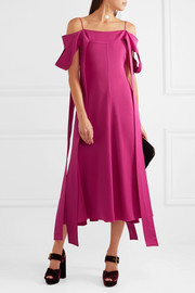 Poppies off-the-shoulder satin-crepe midi dress