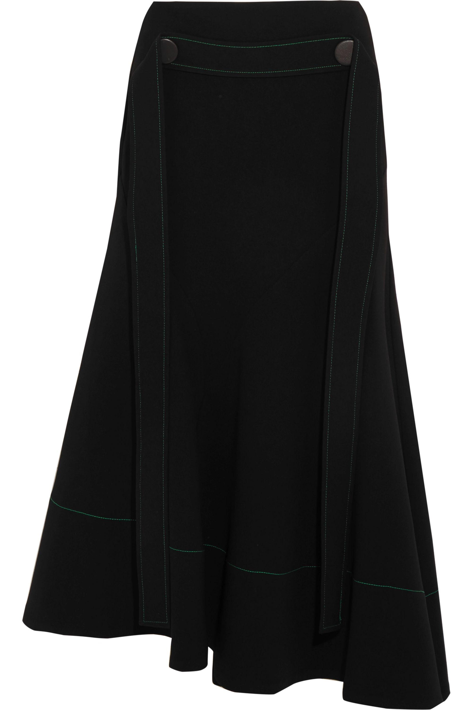 Ellery Belted asymmetric crepe midi skirt