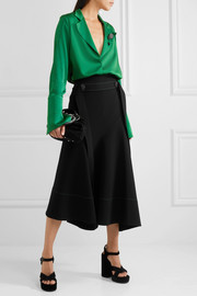 Belted asymmetric crepe midi skirt