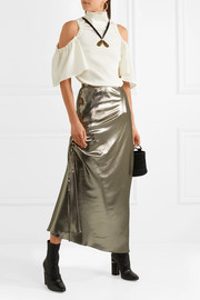 Laura asymmetric ruched silk-blend lamé skirt
