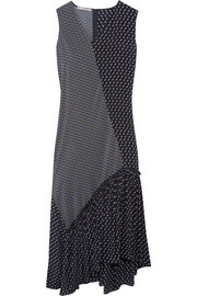 Stella McCartney Teresa asymmetric ruffled printed silk crepe de chine midi dress