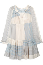 Erika tiered striped cotton and silk-blend mini dress