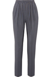 Christine printed silk crepe de chine track pants