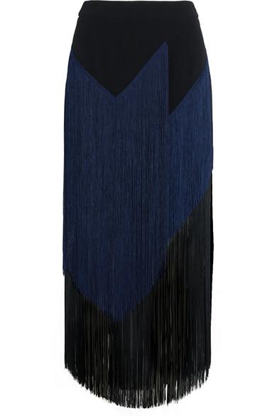 Stella McCartney - Veronica Fringed Stretch-crepe Midi Skirt - Black