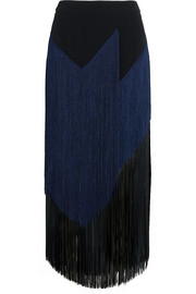 Veronica fringed stretch-crepe midi skirt
