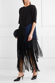 Stella McCartney Veronica fringed stretch-crepe midi skirt