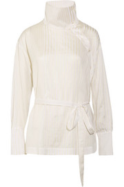 Caterina cotton and silk-blend jacquard blouse