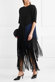 Edith two-tone fringed crepe top