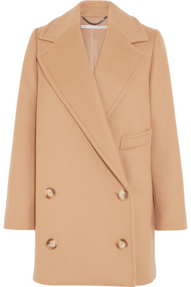 In Coat Tan Double Stella Edith Felt Wool Mccartney Breasted Blend qx8Zw1