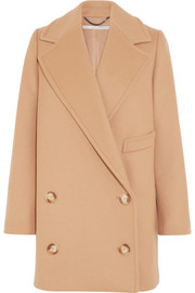Edith double-breasted wool-blend felt coat