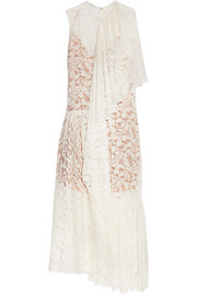 Elen one-shoulder draped cotton-blend lace gown