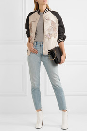 Lorinda embroidered faille bomber jacket