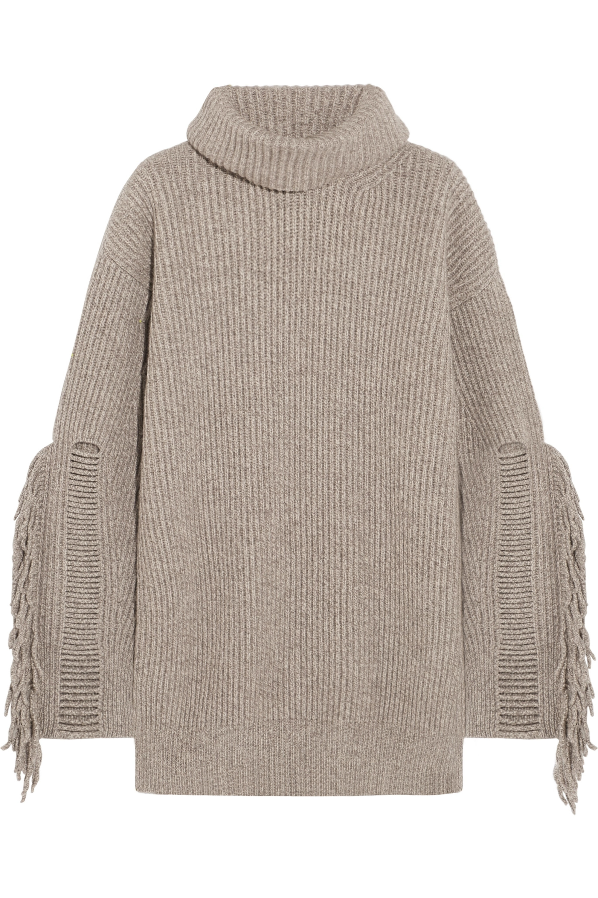 Stella McCartney Fringed ribbed cashmere and wool-blend turtleneck sweater