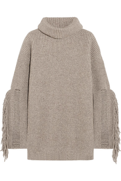 Stella McCartney | Fringed ribbed cashmere and wool-blend ...