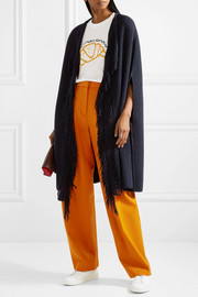 Stella McCartney Fringe-trimmed ribbed cashmere and wool-blend cape