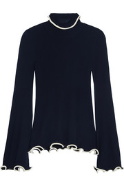 Stella McCartney Ruffled ribbed wool turtleneck sweater