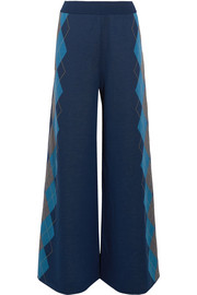 Argyle wool wide-leg pants