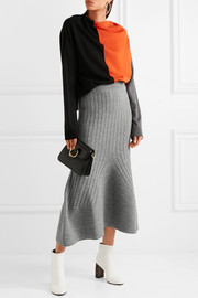 Flared ribbed wool midi skirt