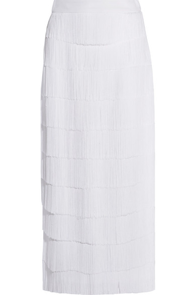 Stella McCartney - Annika Fringed Crepe Midi Skirt - White