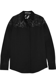 Frederika lace-paneled silk crepe de chine shirt
