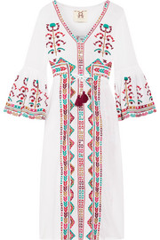 Minette embroidered cotton-voile midi dress