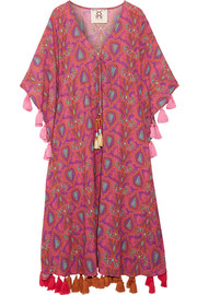 Amrita tasseled printed cotton-blend gauze kaftan