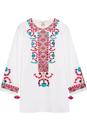 Lisbette embroidered cotton-poplin blouse