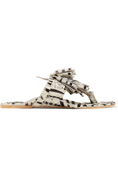 Figue - Scaramouche Tasseled Zebra-print Calf Hair Sandals - Off-white