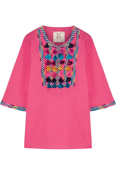 Figue - Nilu Tasseled Cotton-voile Blouse - Bright pink