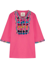 Nilu tasseled cotton-voile blouse