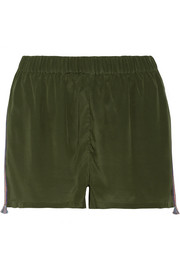 Cassia embroidered silk-satin shorts
